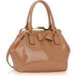 LS fashion LS dámská kabelka lakovaná s mašlí LS00258A nude