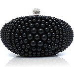 LightInTheBox Shidaili Handmade Pearl Diamonade Silk Evening Bag (Black)