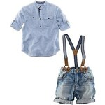 LightInTheBox Boy's Stand Collar Striped Half Sleeve (adjust) Shirt Suspender Short Denim Pants Cotton Twinsets