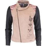 Béžová bunda s koženkovými rukávy Desigual Charo