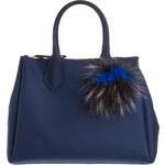 GUM Handtasche mit Echtpelz-Pompon blau