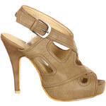 TopMode Moderní otevřená dámská obuv s přezkou béžová