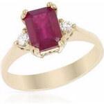 Prsten ze zlata s rubínem a diamanty