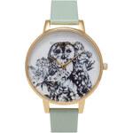 Topshop **Olivia Burton Animal Motif Owl Mint & Gold Watch