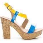 BELLE WOMEN Nádherné modro-žluté dámské sandály - 50700BL / S2-26P