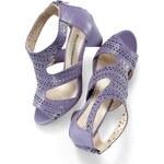 Blancheporte Perforované sandály šedofialová, velikost 36