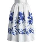 CHICWISH Dámská sukně Midi Ceramic Blue Rose Velikost: S