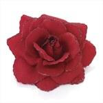 Klip do vlasů červený květ růže 9cm 27427