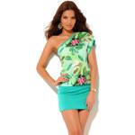Venca Asymetrické šaty s efektem 2 v 1 zelená