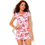 Venca Krátké šaty s motivem květin růžová