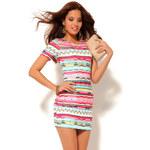 Venca Krátko šaty s barevným etno vzorem růžová