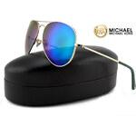 Michael Kors DYLAN sluneční brýle - Aviator Light Gold / Green Mirror MK2066S
