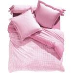 Blancheporte Povlečení Jacques kostičky, bavlna růžová, velikost napínací prostěradlo 90x190cm
