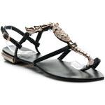 PRETTY WOMEN Nádherné černé dámské sandále - XF8138B / S2-119P