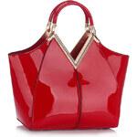 LS fashion LS dámská KABELKA LAKOVANÁ LS00302 červená