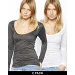 ASOS Top with Long Sleeves and Scoop Neck 2 Pack SAVE 20%