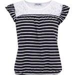 Černé pruhované triko s krajkou Vero Moda Strips
