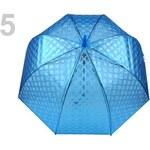 Dámský průhledný vystřelovací deštník (1 ks) - 5 modrá neonová transparent Stoklasa