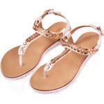 Bíle sandály se zlatou aplikací Vices