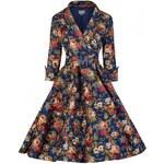 LINDY BOP Dámské šaty VIVI Dark Blue Velikost: 50
