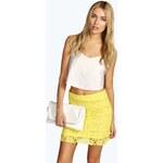 BOOHOO Žlutá mini sukně s krajkou Hana