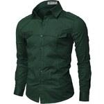 Zelená pánská košile Doublju s kapsami