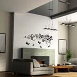 Decor4walls Samolepka na zeď - Aplikace - černé květy 90x150cm