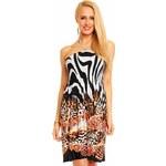 LM moda Šaty letní plážové,elegantní, zebrované oranžové
