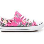 CNB Látkové dámské tenisky - růžové s květy, vel. 37