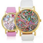 Lesara Damen-Armbanduhr mit floralem Muster - Pink