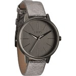 Nixon - Hodinky Kensington Leather Gunmetal Shimmer - grafit