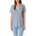Tally Weijl Grey V-Neck Loose Short Sleeve Top