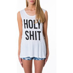 """Tally Weijl White """"Holy Shit"""" Tie Back Top"""