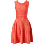 Issa Jacquard Eye Print Dress in Coral