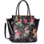 LS fashion LS dámská retro kabelka s květy LS00364 černá