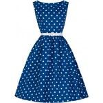 Retro šaty Lindy Bop Audrey Blue Polka 40