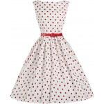 Retro šaty Lindy Bop Audrey White Polka 40