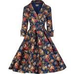 Retro šaty Lindy Bop Vivi Dark Blue Floral 52