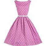 Retro šaty Lindy Bop Audrey Pink Polka 44