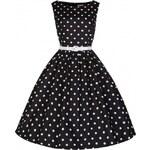 Retro šaty Lindy Bop Audrey Black Polka 36