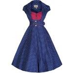 Retro šaty Lindy Bop Geneva Navy Polka