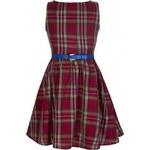 Retro šaty Lindy Bop Mini Audrey Red Tartan