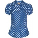 Retro top Lindy Bop Linda Sky Blue Polka 46