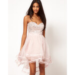 Lipsy VIP Embellished Organza Dip Hem Dress
