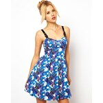 ASOS Premium Floral Cup Skater Dress With Buckle Straps