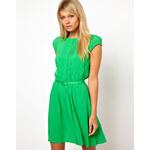ASOS – Kurzes Kleid mit Biesen und gleichfarbigem Gürtel