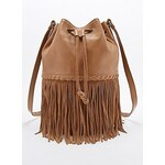 Ecote Suede and Leather Fringe Duffle Bag in Tan
