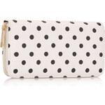 LS fashion retro dámská peněženka s puntíky bílá