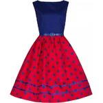 Retro šaty Lindy Bop Audrey Mono Red Blue 44