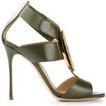 Sergio Rossi Metallic Plate Sandals